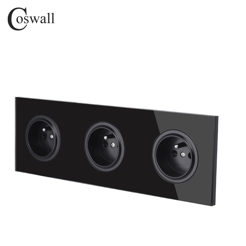 Image 4 - Coswall Crystal Tempered Pure Glass Panel 16A Triple French Standard Wall Power Socket Grounded With Child Protective LockElectrical Sockets   -
