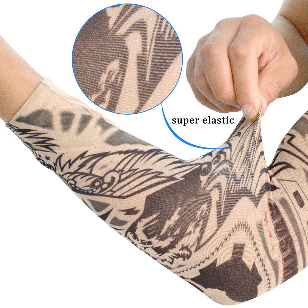 Unisex Summer Fake Tattoo Arm Sleeves For Men Unisex Women Sunscreen Arm T Shirt UV Protection Hip Hop Punk Slip On Tattoo