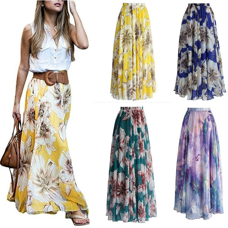 Zogaa New Korean Style Fairy Women Vintage Floral Chains Printed Elastic Waist Long Skirt Summer Beach Skirts Casual Saias Mujer