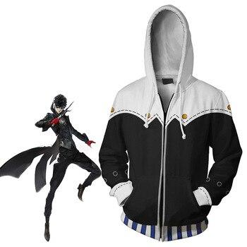 Juego PERSONA 5 yuske Kitagawa Cosplay Hoodie 3D imprimir traje chaqueta cremallera Sudadera con capucha fina para primavera otoño