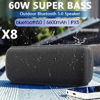 X60W Altavoz Bluetooth portátil Alta potencia DSP impermeable Columna de graves Potente High BoomBox Centro de música al aire libre Sistema de sonido Altavoz TWS Subwoofer Barra de sonido estéreo 3D para la computadora