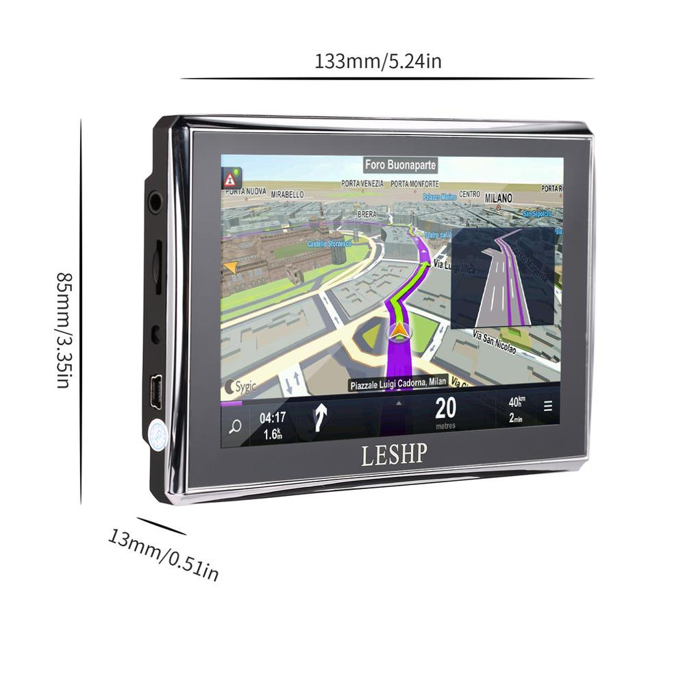 Купить с кэшбэком LESHP Black Durable HD Car GPS Global Positioning System Touch Screen Navigation Map Free Upgrade Truck Navigators Automobile
