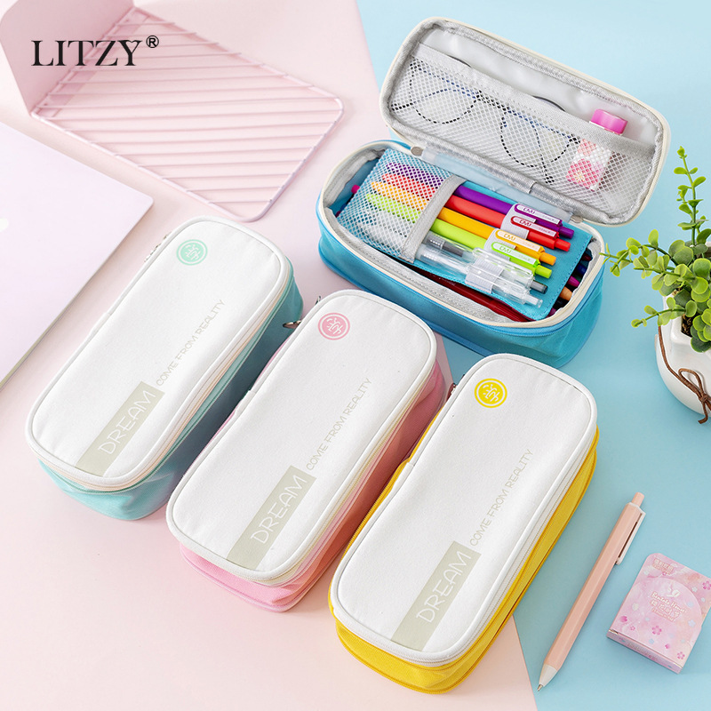 LITZY Canvas Large Capacity Pencil Case Double Layer Big Pencil Bag Cute Solid Color Pencilcase For School Supplies Kids Pen Box