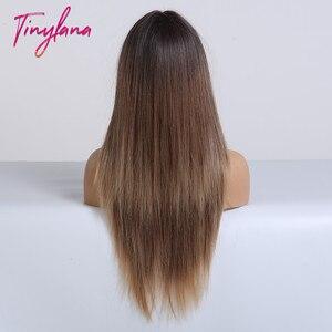 Image 5 - TINY LANA perruques synthétiques lisses longues avec frange, perruques ombrées noires brunes blondes et dorées résistantes à la chaleur pour femmes