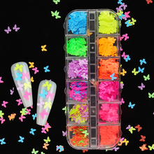 5mm Neon Butterfly Shape Nail Art Glitter Flakes 3D Fluorescence Nail Sequins UV Gel Polish Manicure Charms Nail Art Decorations