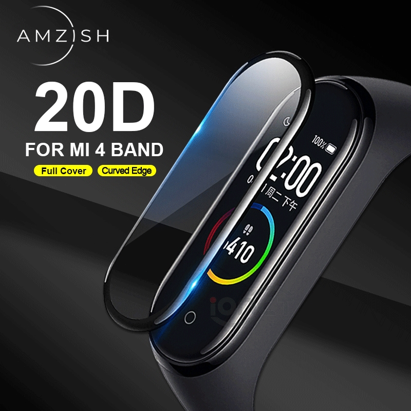 Amzish 20D Curved Edge Protector For Xiaomi Mi Band 4 Glass Full Cover Pelicula For Mi Band 4 Screen Protector Anti-scratch
