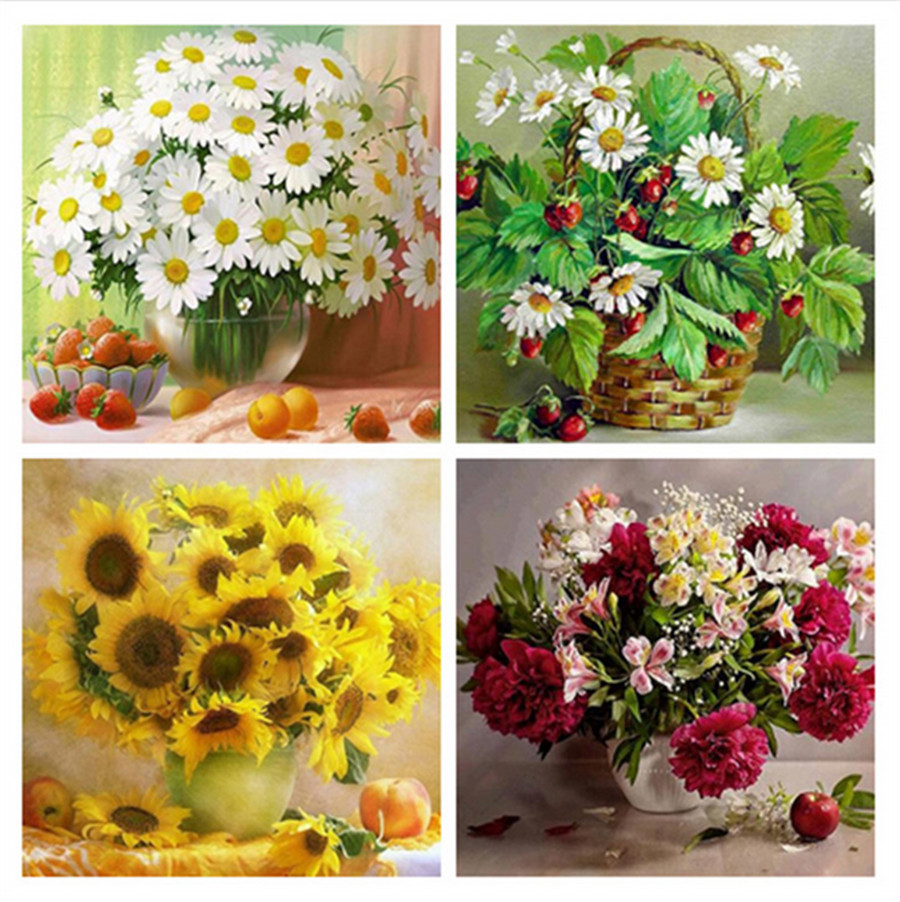 Diamond Embroidery Cross Stitch Full Circular Diamond Painting Daisy Vase DIY Diamond Painting Full Drilling Holiday Home Decor