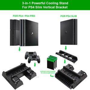 Image 4 - Per PS4/PS4 Slim/PS4 Pro supporto verticale con ventola di raffreddamento caricatore doppio Controller stazione di ricarica per SONY Playstation 4 Cooler