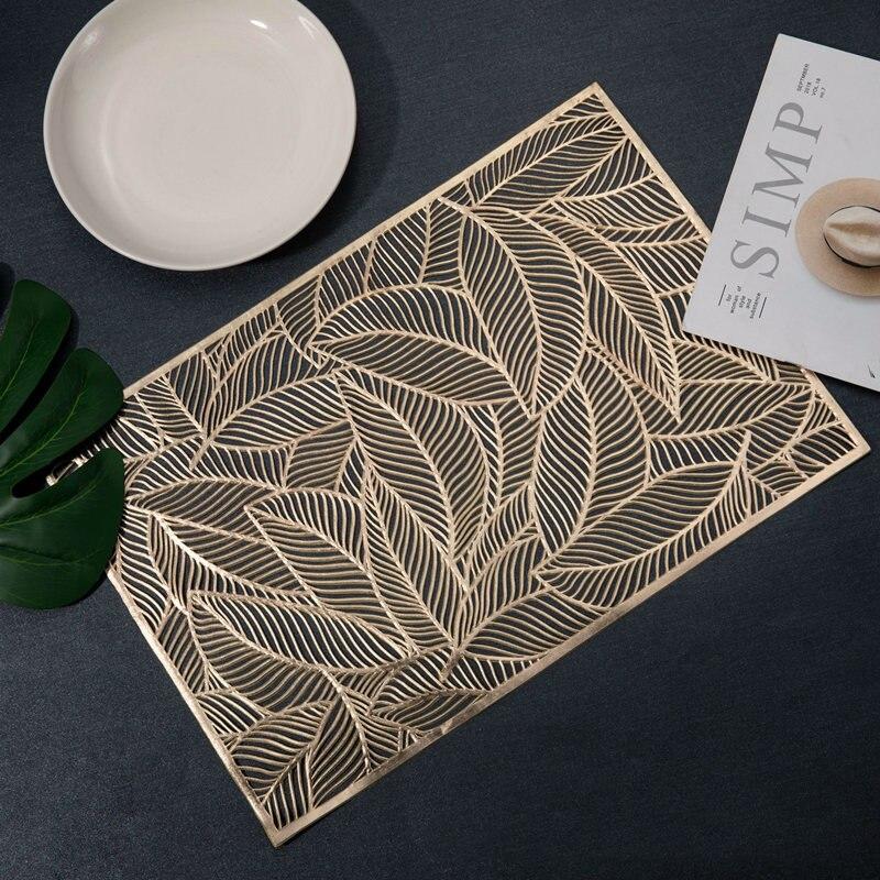 1 pçs pvc moderno resistente ao calor tapetes de mesa moda retangular recorte folhas padrão antiderrapante placemat acessórios de cozinha|Tapetes e almofadas|   - AliExpress