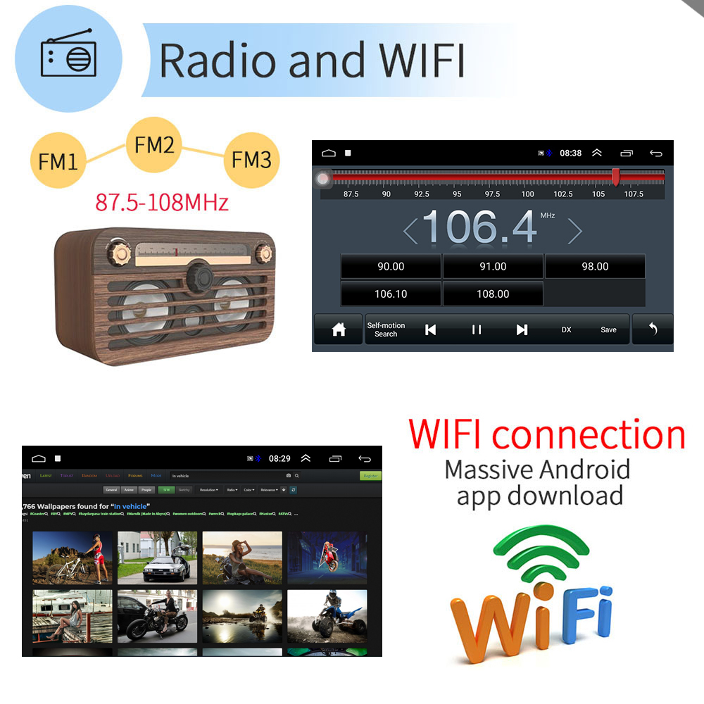 Image 5 - Podofo Android 2din Car Radio Audio Stereo Car Autoradio GPS Navigation Bluetooth WIFI Mirrorlink MP5 Player Radio Car Autoradio-in Car Multimedia Player from Automobiles & Motorcycles