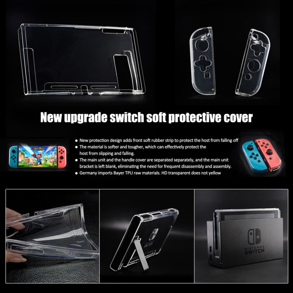 Clear Crystal Soft TPU Protective Case Cover Skin For Nintend Switch NS Controller Joy-Con Transparent Clear Shell