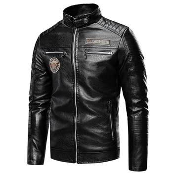 Ucrazy Men 2020 Autumn New Brand Casual Motor Distressed Leather Jacket Coat Men Winter Vintage Outwear Faux Leather Jackets Men 2