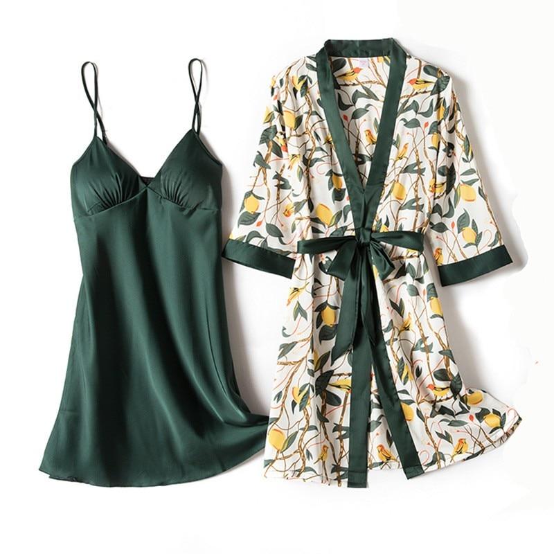 Sexy Nighty&Robe Suit Print Flower Sleepwear Women Kimono Bathrobe Gown Casual Satin 2PCS Sleep Set Intimate Lingerie Homewear