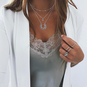 Vintage Silver Color Lotus Rhinestone Pendant Necklace for Women 2021 Fashion Layered Bead Chain Necklace Female Bohemian Collar
