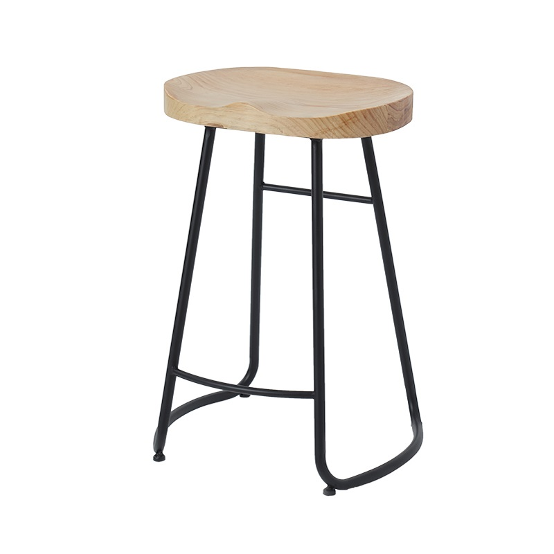 Modern Simple Iron Foot Stool Surface Solid Wood Bar Stool Home High Chair Coffee Shop Cold Drink Shop Bar Stool Dotomy Chair