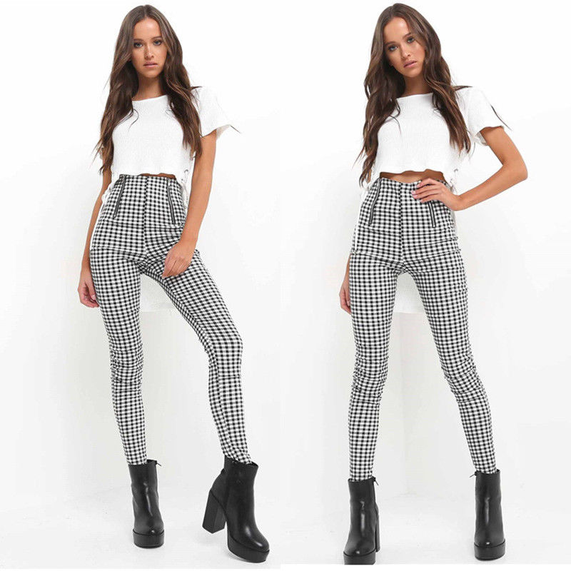 Black White Plaid High Waist Pants Women Side Stripe Harem Trousers Sweatpants Casual Female Streetwear Joggers
