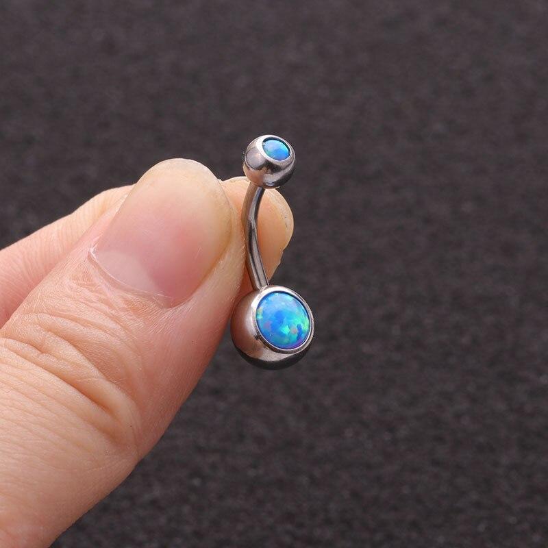 Imixlot Belly-Button-Rings Opal-Stone Piercing Internally Threaded Titanium Barbells