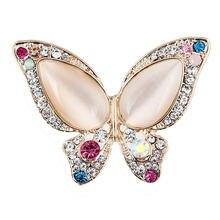 Красочные Стразы опал Бабочка броши для женщин костюм кристалл