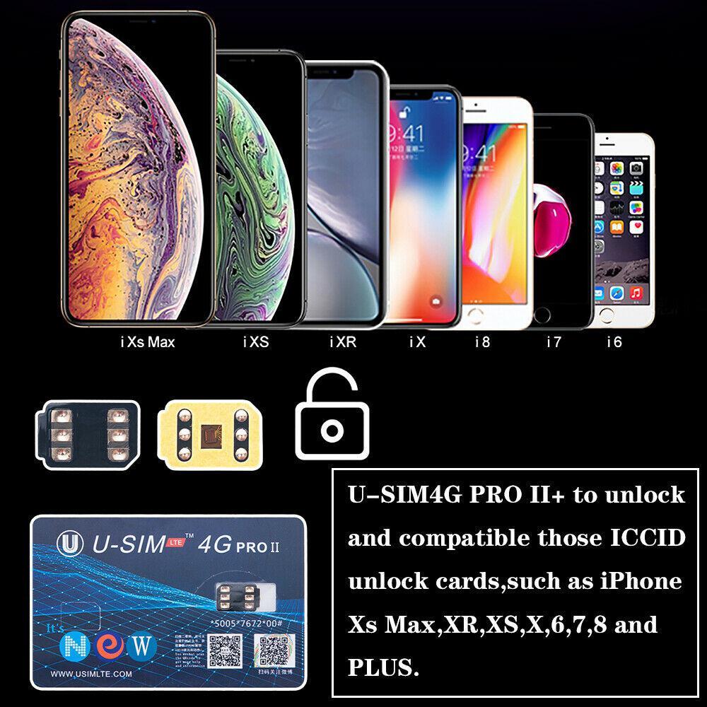 U-SIM4G Pro II Unlock SIM Card Nano-SIM Compatible For IOS 12 IPhone XS Max
