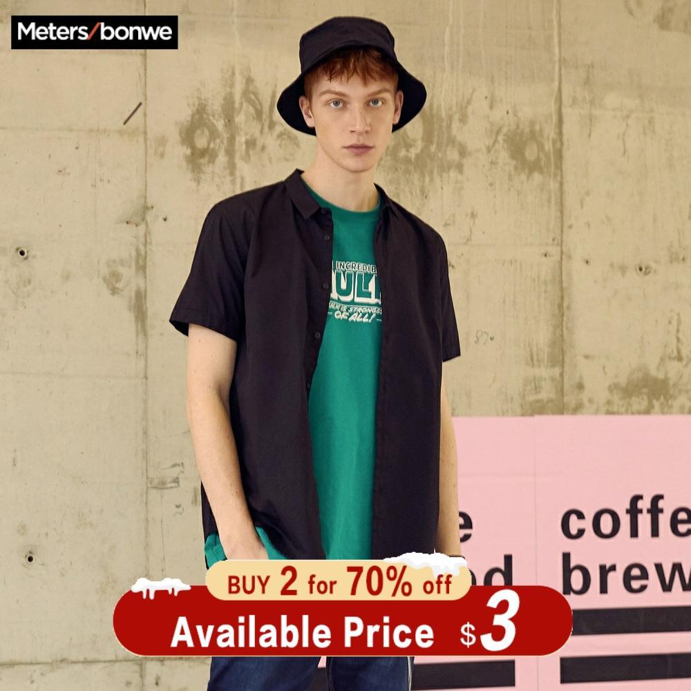 Metersbonwe Short Sleeve Shirt For Men 2019 New Summer Trend Solid Color Shirt Hong Kong Style Oxford Cloth рубашка мужская
