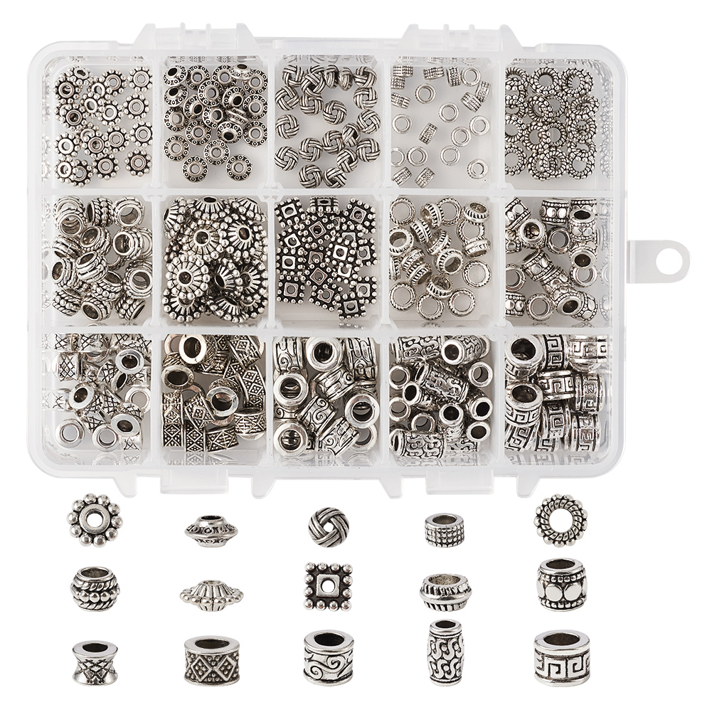 Tibetan Style Alloy Beads Large Hole Beads For Jewelry Making DIY Mixed Shapes Antique Silver 14x10.8x3cm, Hole: 5mm 300pcs/box