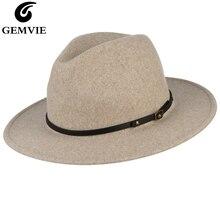 GEMVIE 2019 Wide Brim Wool Blend Fedora Felt Hat For Women Man New Warm Autumn Winter Panama Jazz Cap With Leather Band