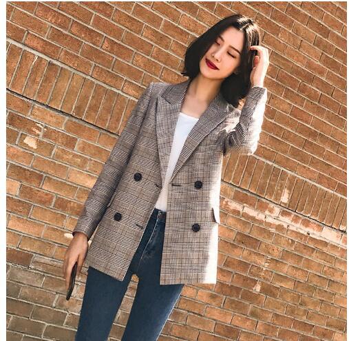Vintage Bouble Breasted Plaid Women Blazer Pockets Jackets Female Retro Suits Coat Feminino Blazers Outerwear Autumn 2019