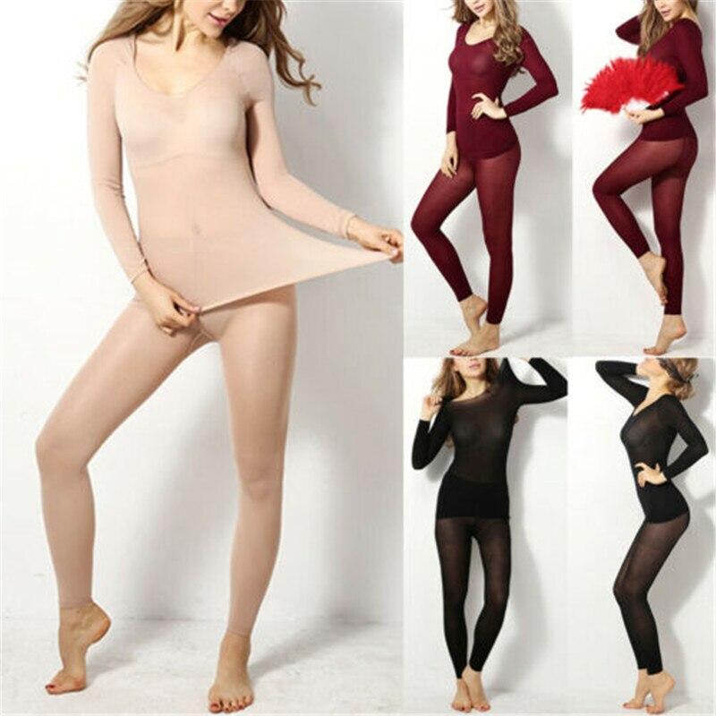 2Pcs Womens Ultra-Soft Thermal Underwear Set Elastic Winter Warm Seamless Stretch Women Men Unisex Underwear Set