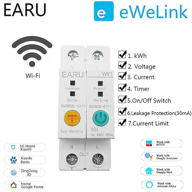 2P Wifi Stroomonderbreker Energie Power Kwh Meter Tijd Tijdschakelaar Relais Voltmeter Huidige Lekkage Bescherming Aardlekschakelaar Rcbo Limitter