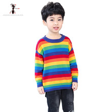 Kung Fu Ant 2019 New Arrival Autumn Fashion Rainbow Color Boys Sweaters for Boys O-Collar Cotton Knitted Kids Clothes Baby Tops цена 2017