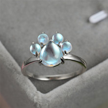 100% Real 925 Sterling Silver Moonstone Rings For Women Cute Cat Paw Animal Footprint Gemstone Ring Female Unique Dog Claw Rings