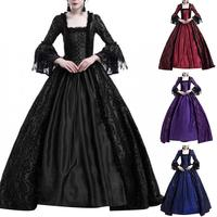 New Halloween Dress Medieval Renaissance Queen Ball Gown Bell Sleeve Maxi Dress Halloween Costume for Cosplay Party