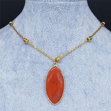 2021 ожерелья из нержавеющей стали с натуральным камнем женские
