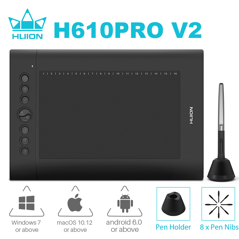 HUION USB Digital Graphic Tablets H610PRO V2 Tilt Function PW100 Battery-free Pen Art Drawing Tablet For Windows Mac Android OS
