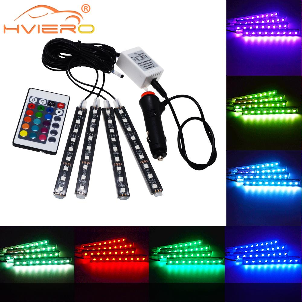4Pcs Car Led RGB Led Strip Light 5050 SMD Auto Remote Control Decorative Flexible LED Dome Atmosphere Lamp Kit Fog Lamp DC 12V