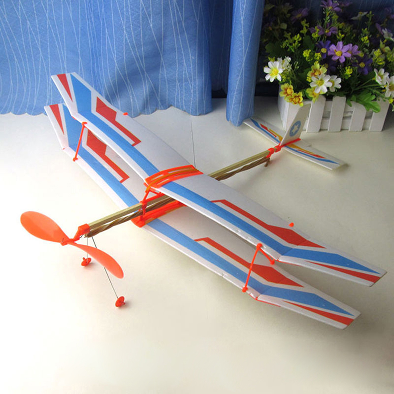 DIY Assembled Helicopter Model Rubber Band Power Wings Gliding Aircraft Children Puzzle Aircraft Stitching Toys Random Color