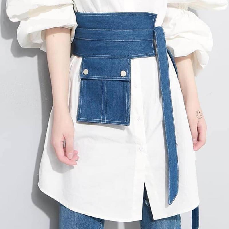 Mihaivina Women Waist Bag Denim Fanny Pack Female Waist Packs Phone Pouch Belt Bag Coin Purse Fashion Womens Hip Pack Wholesale