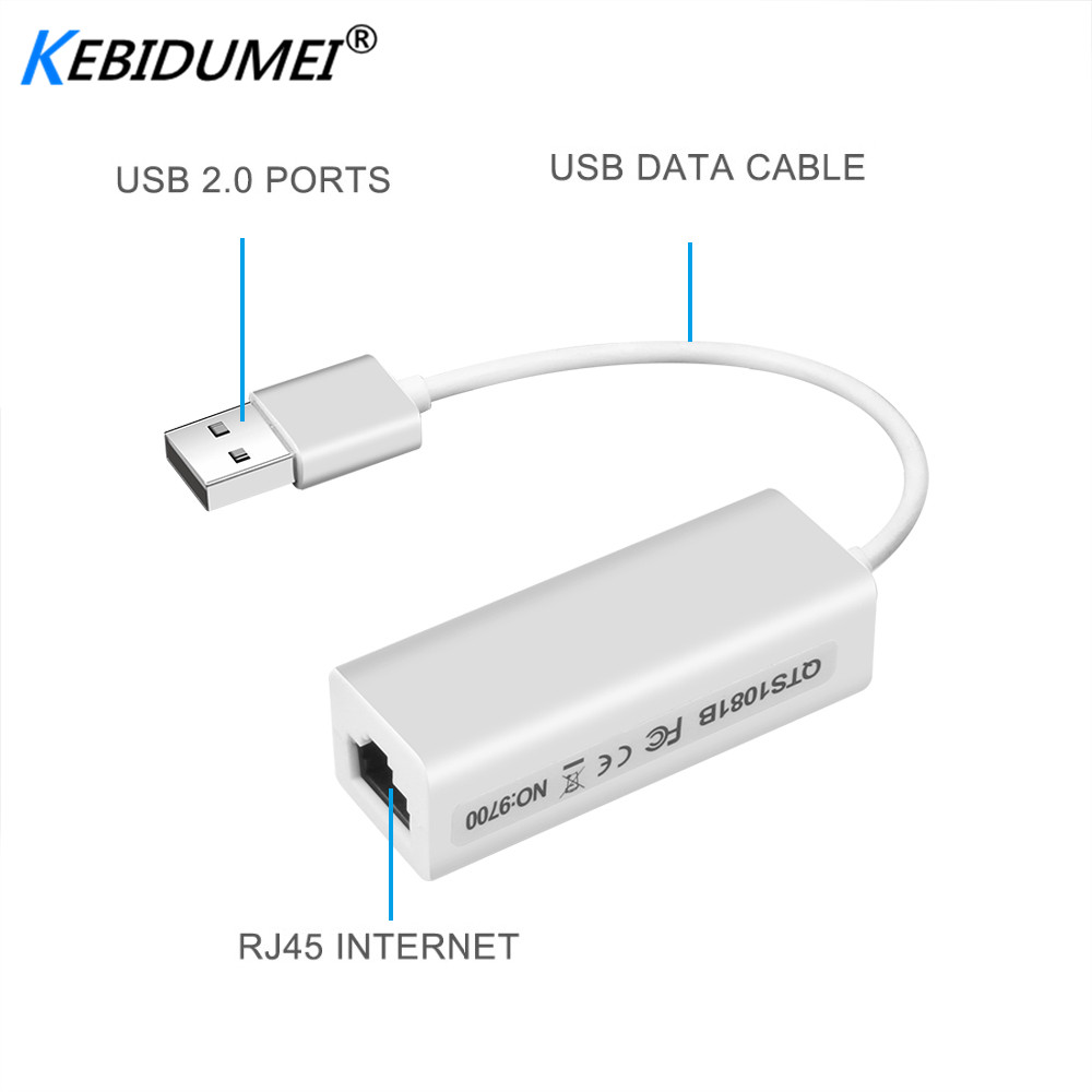 10/100 Mbps USB 2.0 To RJ45 LAN Adapter USB 2.0 Ethernet Network LAN Adapter Card Adapter For Windows 7 Laptop High Speed