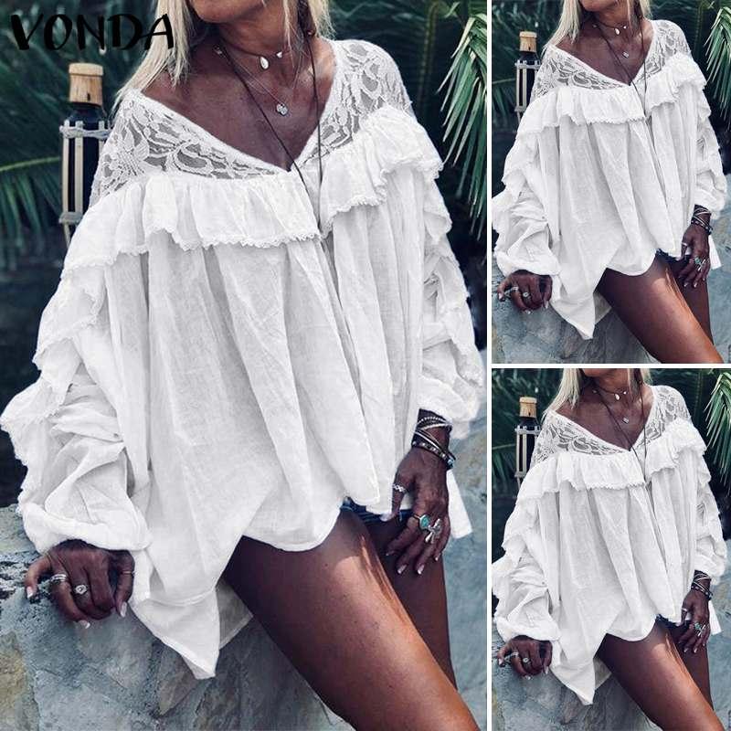 Женская Туника VONDA, белая сексуальная блуза с v-образным вырезом и длинным рукавом-бабочкой, Пляжная блузка, Повседневная Свободная блуза бо...