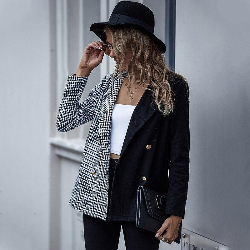 2020 suit jacket women autumn and winter plaid two-color cardigan button button lapel suit women