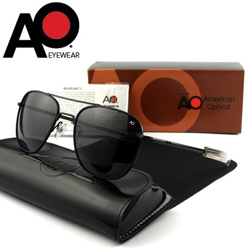 Militar do exército americano piloto ao óculos de sol lente de vidro dos homens marca designer condução óculos de sol masculino op55 alta qualidade