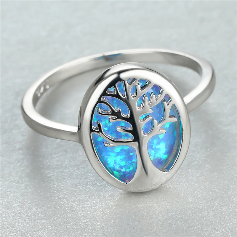 Cute Tree of Life Ring Blue Fire Opal Rings For Women Wedding Jewelry Vintage Fashion Silver Color Engagement Ring Bridal Gifts