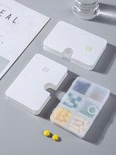 Dispensador portátil de pastillas pequeñas, caja sellada de gran capacidad, 6 celdas, caja de almacenamiento para viajes de negocios, atributos de medicamentos