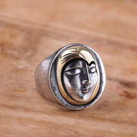Authentic 100% 990 sterling silver Smiling Girl Ring Vintage Thai Silver personality Mask Silver ring Men Jewelry Birthday Gifts