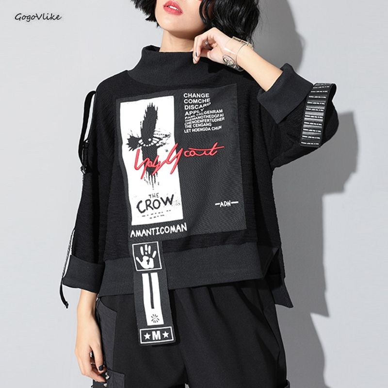 Patch Sweatshirt Women Punk Gothic Girls  Ribbons Patchwork Loose Pullover Top Autumn Streetwear Harajuku Sweatshirt SA286S50