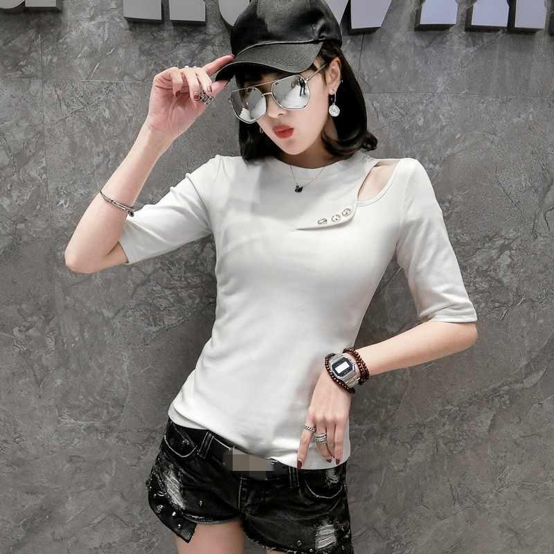 Fashion 2020 Musim Panas Wanita Setengah Lengan Seksi Hollow Out Striped Tee Top Pullover Leher O Slim Fit Wanita Plus Ukuran S-3XL t-shirt