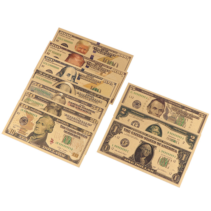 Nuevo 10 Uds chapados en oro dólares billetes conmemorativos dinero falso oro colección de antigüedades 1 2 5 10 20 50 100 dólares