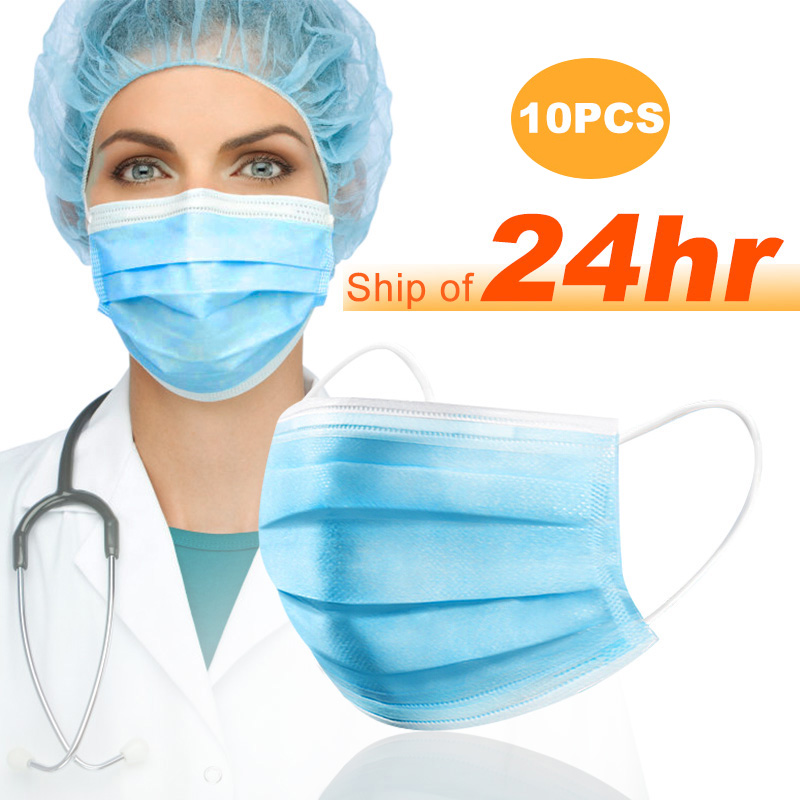 20 Pcs 3-Ply Disposable Face Mouth Protective Masks Anti-COVID-19 Haze PM2.5 Influenza Bacterial Facial Safety Anti-Dust Masks