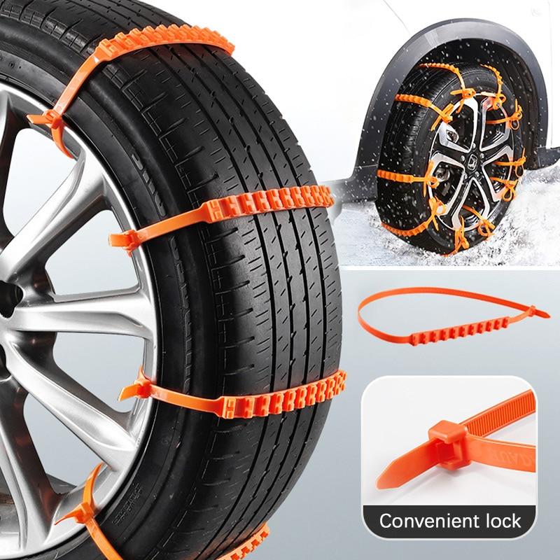 Anti-skid kabel krawatten für neue tragbare fahrzeuge Auto Universal Mini Kunststoff Winter Reifen räder Schnee Ketten Für Autos