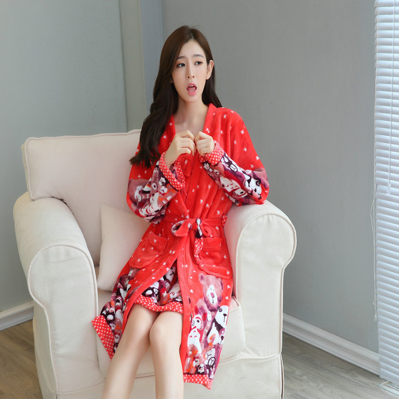 Autumn And Winter New Style WOMEN'S Pajamas Coral Velvet Thick Warm Long Sleeve Two-Piece Set Nightgown Tracksuit